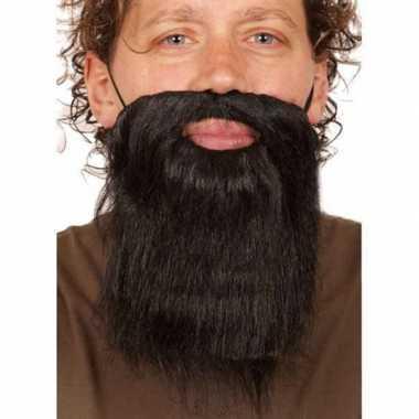 2x stuks korte carnaval verkleed zwarte baard heren