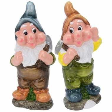 2x tuinkabouters 30 cm mijnwerkers blauw bruin