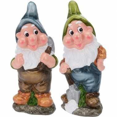2x tuinkabouters 30 cm mijnwerkers blauw groen