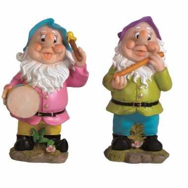 2x tuinkabouters 30 cm muzikanten blauw/paars
