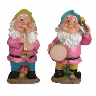 2x tuinkabouters 30 cm muzikanten groen/blauw