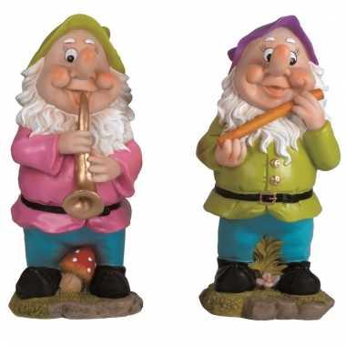 2x tuinkabouters 30 cm muzikanten groen/paars
