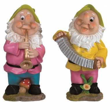 2x tuinkabouters 30 cm muzikanten groen