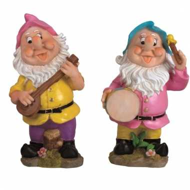 2x tuinkabouters 30 cm muzikanten roze/blauw