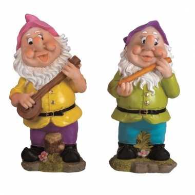 2x tuinkabouters 30 cm muzikanten roze/paars