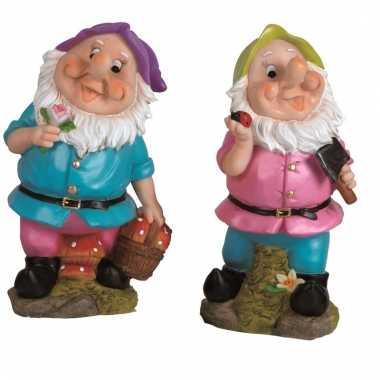 2x tuinkabouters 30 cm paarse/groene mutsjes