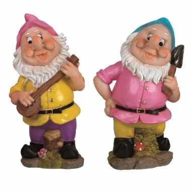 2x tuinkabouters 30 cm roze/blauw