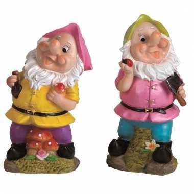2x tuinkabouters 30 cm roze/groen