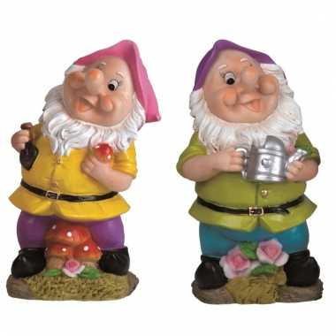 2x tuinkabouters 30 cm roze/paars