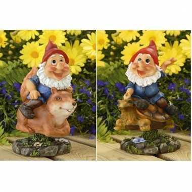 2x tuinkabouters rode muts op eekhoorn/schildpad 21 cm