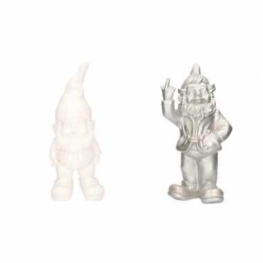 2x tuinkabouters witte/zilveren set 30 cm