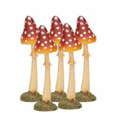 5x decoratie paddenstoel vliegenzwam 12 cm