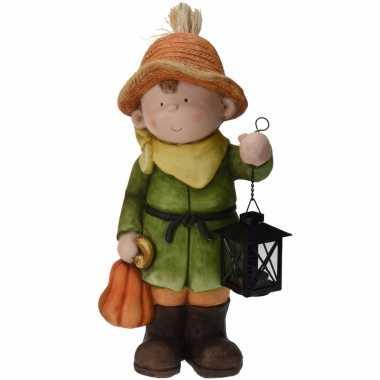 Tuinbeeld tuinkabouter jongetje met lantaarn 43 cm