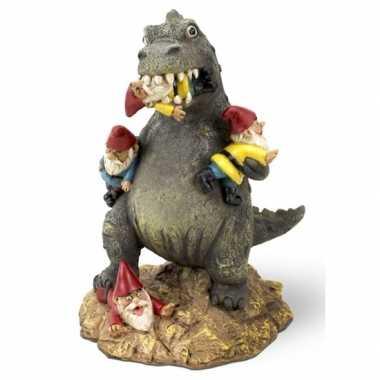 Tuinkabouter met t rex dino 23 cm