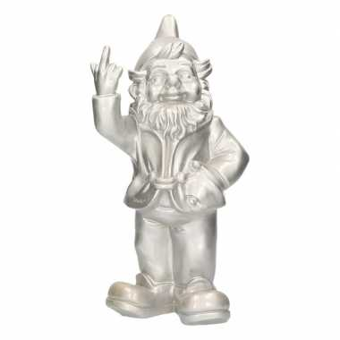 Tuinkabouter zilver middelvinger 30 cm