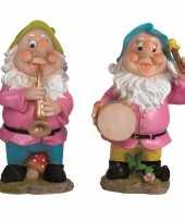 2x tuinkabouters 30 cm muzikanten groen blauw