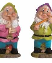 2x tuinkabouters 30 cm muzikanten groen paars