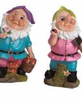 2x tuinkabouters 30 cm paarse groene mutsjes 10111930