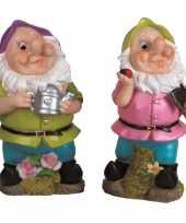 2x tuinkabouters 30 cm paarse groene mutsjes
