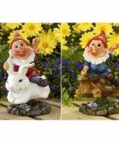 2x tuinkabouters rode muts op konijn schildpad 21 cm