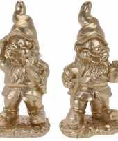Set van 2 gouden tuinkabouters gido en guido 33 cm