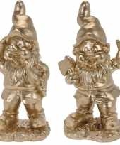Set van 2 gouden tuinkabouters glenn en gido 33 cm